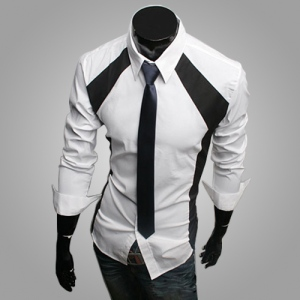 2015-New-Fashion-Men-s-Stitching-Stylish-Dress-Shirts-Autumn-Spring-Black-White-Casual-Slim-Fit